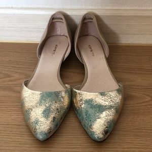 NWOT Teal and Gold Shimmer D'orsay Flats Sz 38